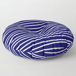 Navy Blue & White Maritime Hand Drawn Stripes - Mix & Match with Simplicity of Life Floor Pillow