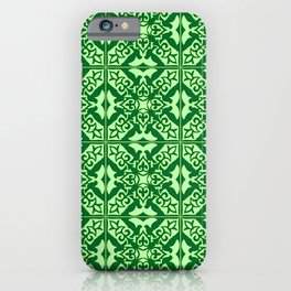 Moroccan Tile, Emerald and Pastel Green iPhone Case