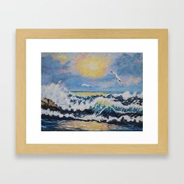 Impressionism Ocean Waves With Seagulls, Beach House Art and home decor Framed Art Print