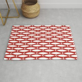 Mid Century Modern Fish Pattern in Red, White, and Nautical Navy Blue Rug