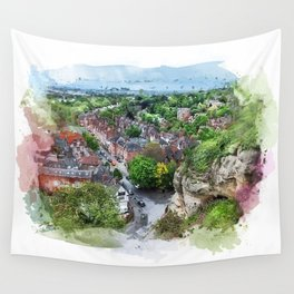 Nottingham city watercolor Wall Tapestry