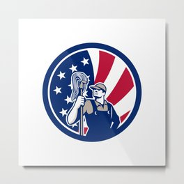 American Industrial Cleaner USA Flag Icon Metal Print