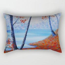 Autumn forest blue orange painting by Ksavera Rectangular Pillow