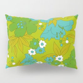Green, Turquoise, and White Retro Flower Design Pattern Pillow Sham