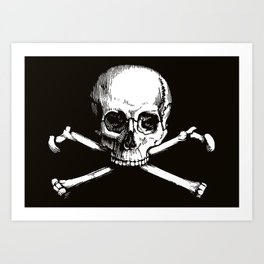 Skull and Crossbones | Jolly Roger | Pirate Flag | Black and White | Art Print