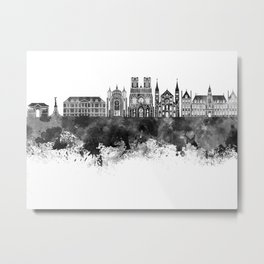 Reims skyline in black watercolor Metal Print