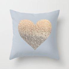 GATSBY GOLD HEART GREY II November Skies Throw Pillow