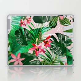 Tropical palm leaf with red flowers Laptop & iPad Skin