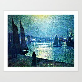 Classical Masterpiece 'Moonlight Night in Boulogne, Italy' by Theo van Rysselberghe Art Print