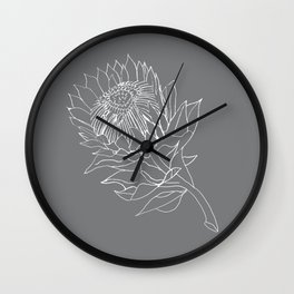 King Protea Outline - Grey and White Wall Clock