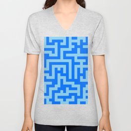 Baby Blue and Brandeis Blue Labyrinth Unisex V-Neck