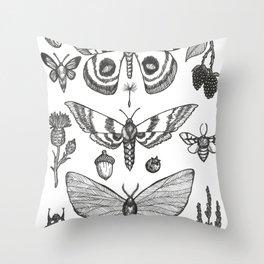 Natural History (Black) Throw Pillow