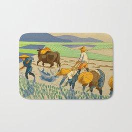 Asano Takeji Rice Transplantation Vintage Japanese Woodblock Print Asian Farmers Sedge Hat Bath Mat
