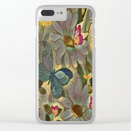 Painterly Flowers and Butterflies Clear iPhone Case