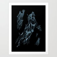 entourage Art Prints featuring Sea Posse III - Jellyfish by signet