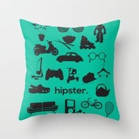 hipster Throw Pillows featuring hipster by tycejones