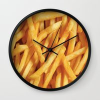 french fries Wall Clocks featuring French Fries Diet by Coconuts & Shrimps