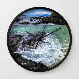 Emerald Tropical Scenic Surf Waves With Turquoise Sky Wall Clock