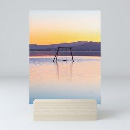 Zen Salton Sea Swing at Sunset (teal, orange) Mini Art Print