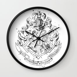 Hogwarts Crest Black and White Wall Clock