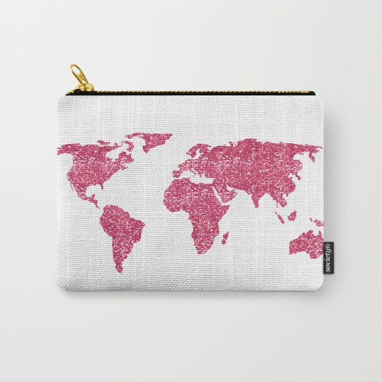 World Map Hot Pink Glitter Sparkles Carry-All Pouch