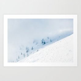 Frozen trees sun and clouds in the mountains Art Print