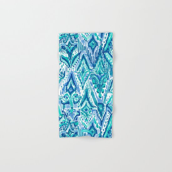 AQUA FRINGE TRIBAL Ikat Watercolor by barbraignatiev
