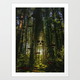 Through the Red Cell Forest Art Print