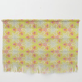 Bright Yellow Pink Accent Pattern Wall Hanging
