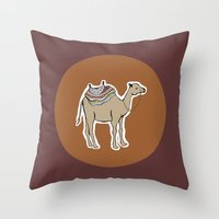 camel Throw Pillows featuring camel by johanna strahl