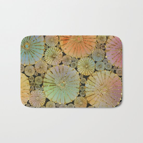 Abstract Floral Circles 2 Bath Mat