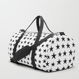 Star Pattern Black On White Duffle Bag
