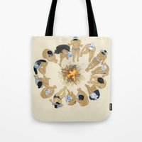 kozyndan Tote Bags featuring Finding Warmth Together by kozyndan