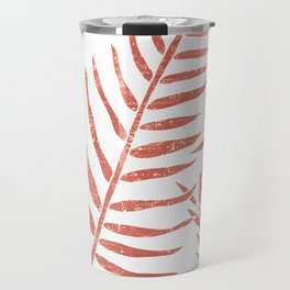 Terracotta Leaves - Terracotta Abstract Print - Modern, Minimal, Contemporary Abstract - Tropical Travel Mug