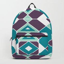 Mid-Century Modern Geometric Teal & Grape Jelly Pattern Backpack