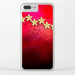 Spectacular gold flowers in red and black grunge texture Clear iPhone Case