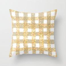 Gingham Sparkle Gold Throw Pillow