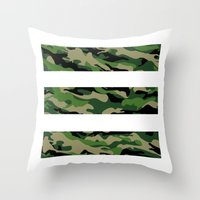 camo Throw Pillows featuring Camo by angelasoto