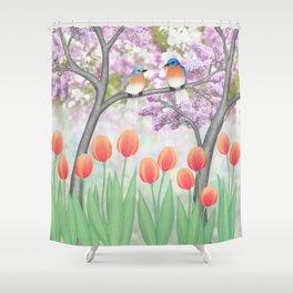 eastern bluebirds, tulips, & lilacs Shower Curtain