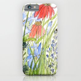 Botanical Garden Wildflowers and Bees iPhone Case
