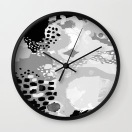 Rion - Modern minimal black and white abstract painting brooklyn nyc home decor canvas abstract art Wall Clock