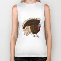 turkey Biker Tanks featuring Thanksgiving Turkey by Yatasi