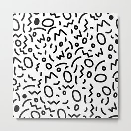 Black and White Abstract Pattern Metal Print