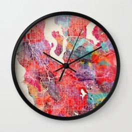 Renton map Washington painting 2 Wall Clock