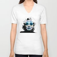 marylin monroe V-neck T-shirts featuring Marylin de los Muertos 2 by jazzyjules63