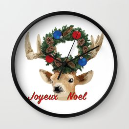 Joyeux noel - French Merry Christmas deer Wall Clock