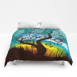 Funky Retro Surrealism Tree Graphic  Comforters