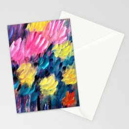 Pink and yellow dahlias - Digital Remastered Edition Stationery Cards