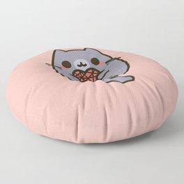 Cute kitty with heart yarn Floor Pillow