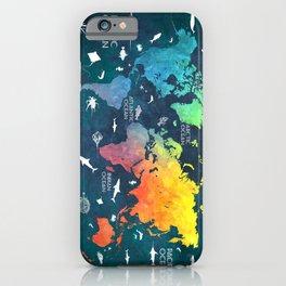 Ocean World Map color #map #worldmap iPhone Case